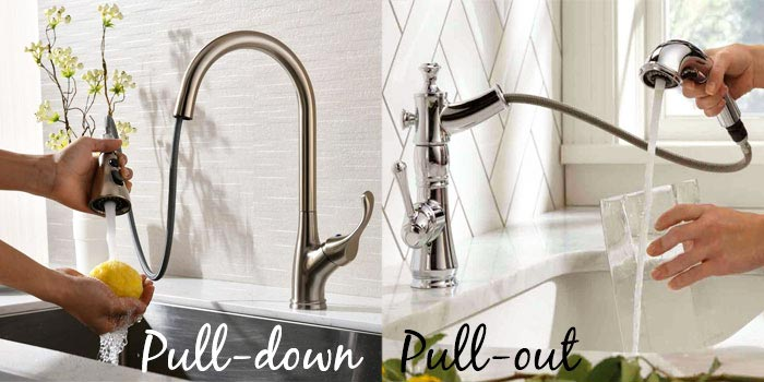 pull down faucet vs pull out faucet